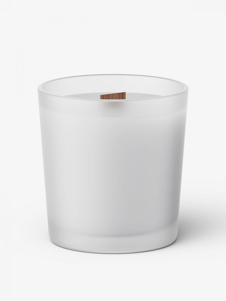 Candle with wooden wick mockup / frosted