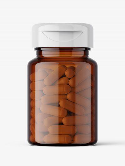 Amber jar with capsules mockup