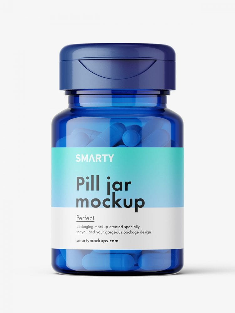 Blue jar with capsules mockup