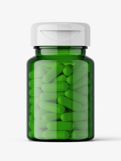 Green jar with capsules mockup