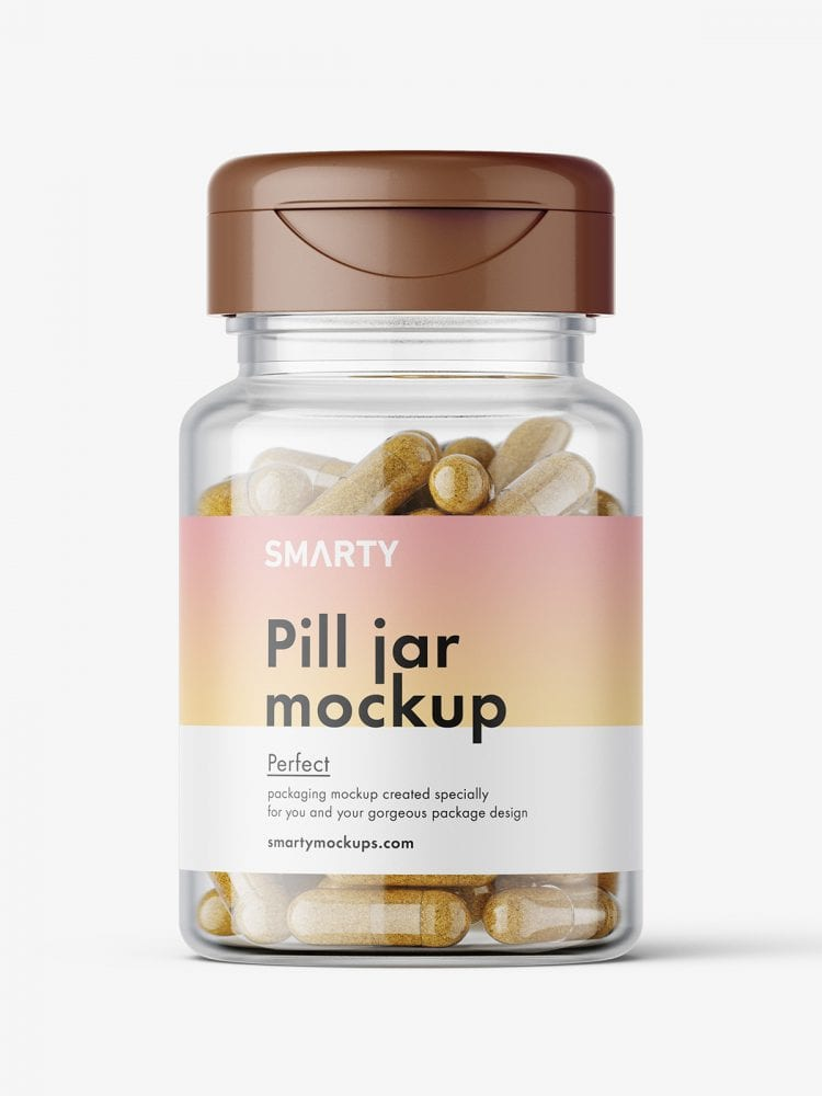 Jar with herbal capsules mockup