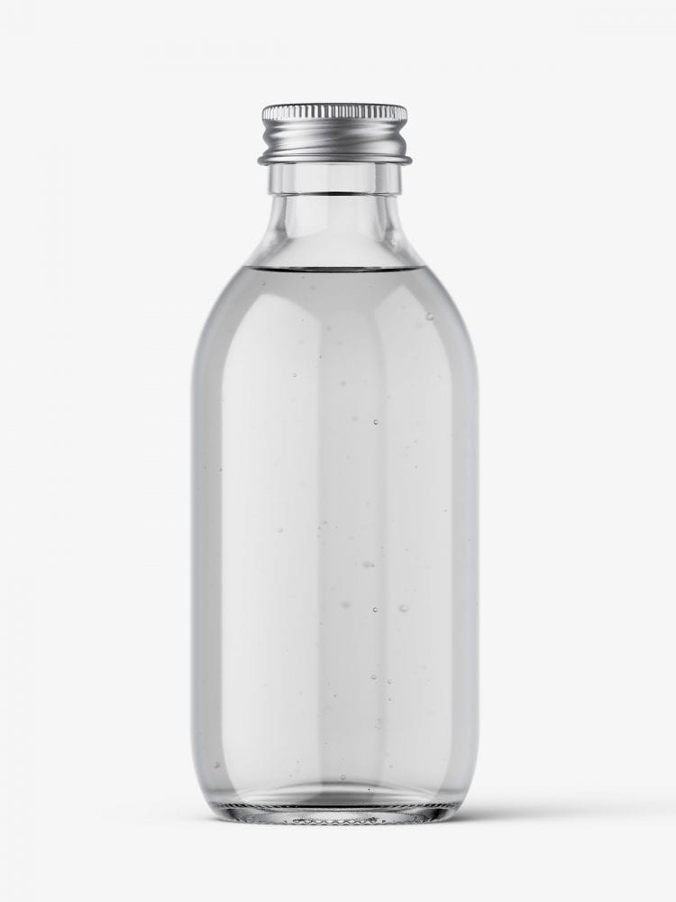 Clear bottle with silver lid mockup