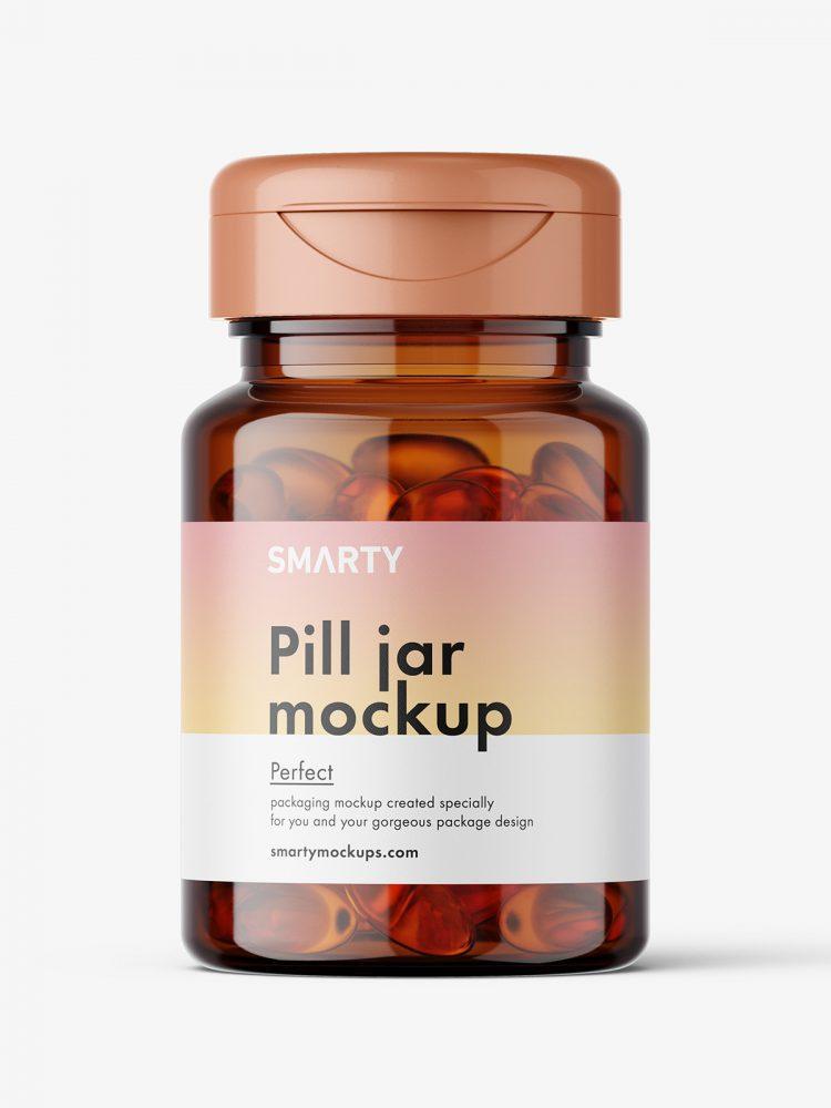 Amber jar with fish oil capsules mockup