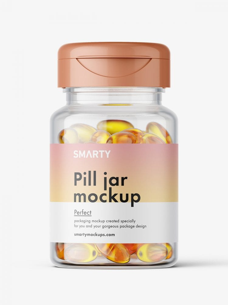 Jar with fish oil capsules mockup