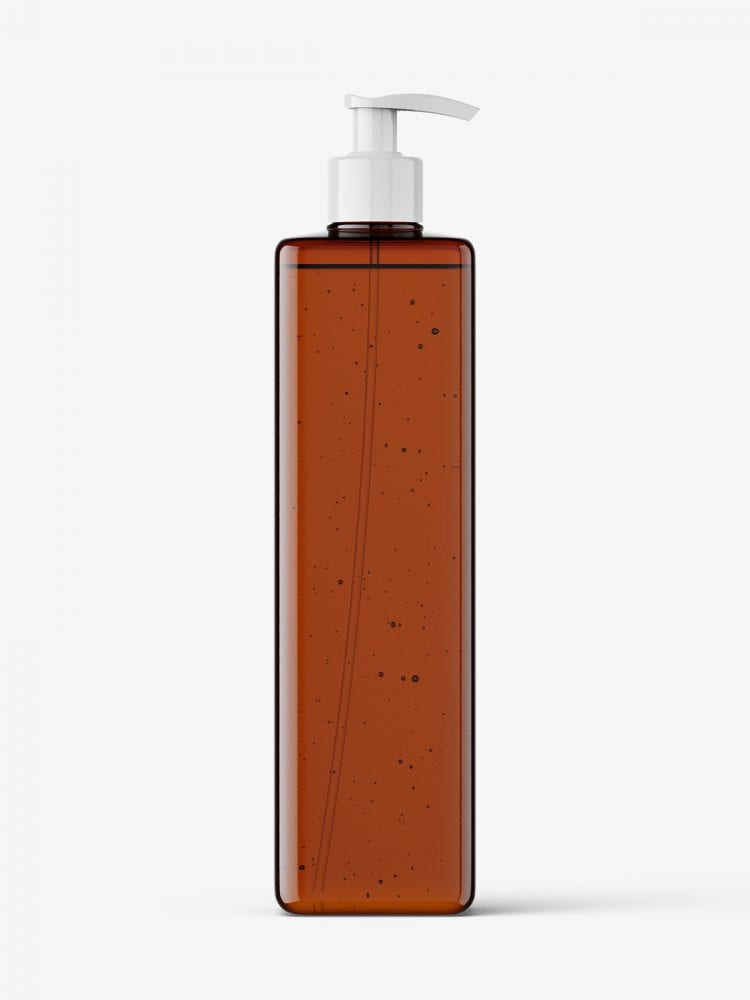 Square bottle with pump mockup / amber