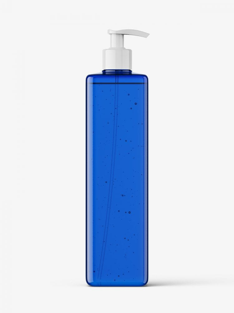 Square bottle with pump mockup / blue