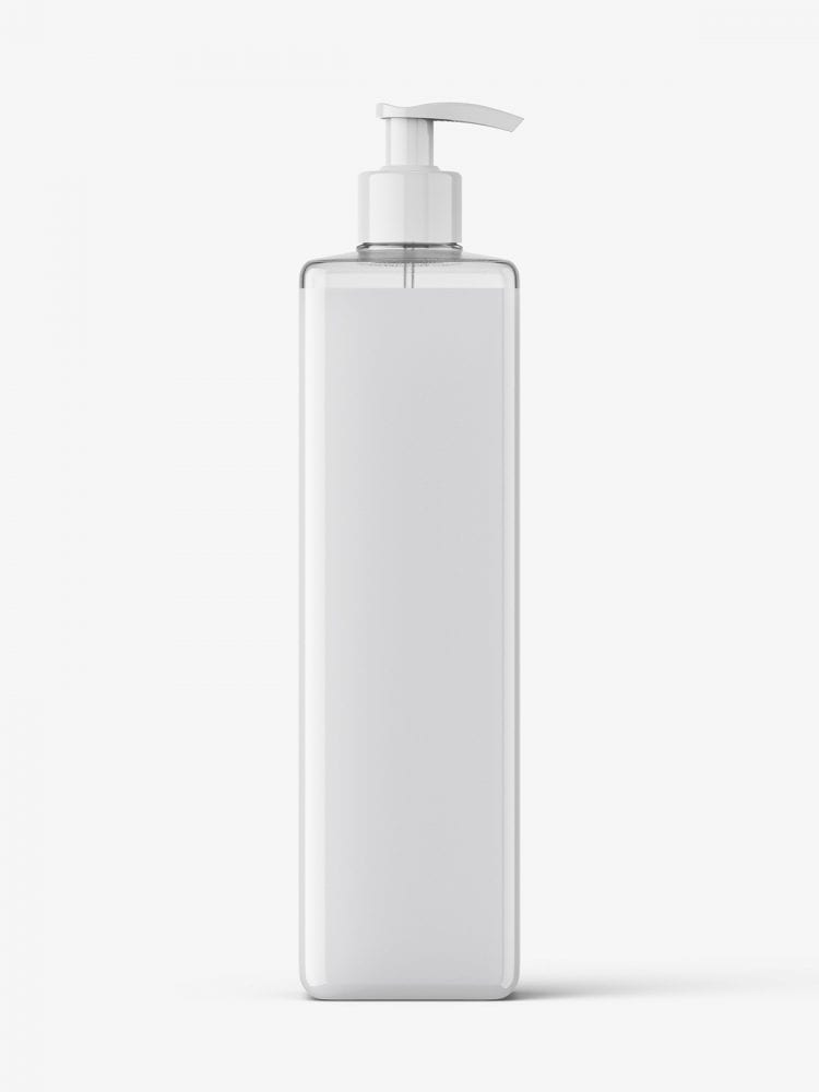 Square bottle with pump mockup / cream