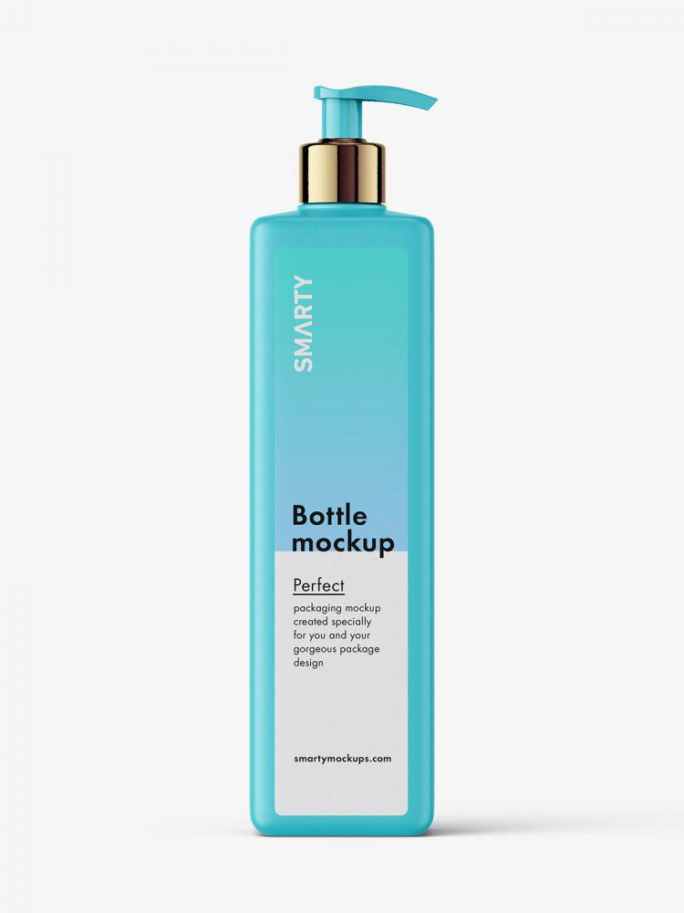 Square bottle with pump mockup / matt