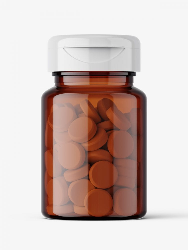 Amber jar with tablets mockup