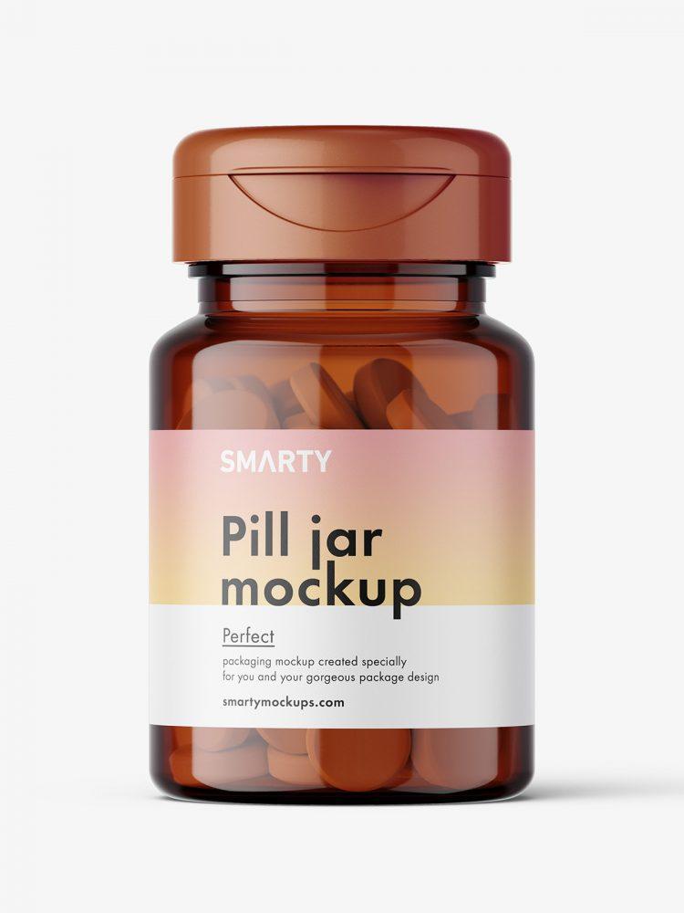 Amber jar with tablets mockup