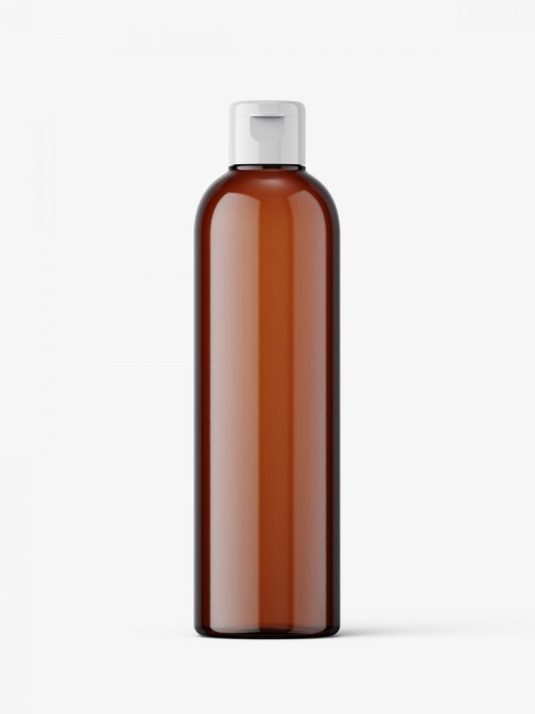 Cosmetic bottle with flip top / amber