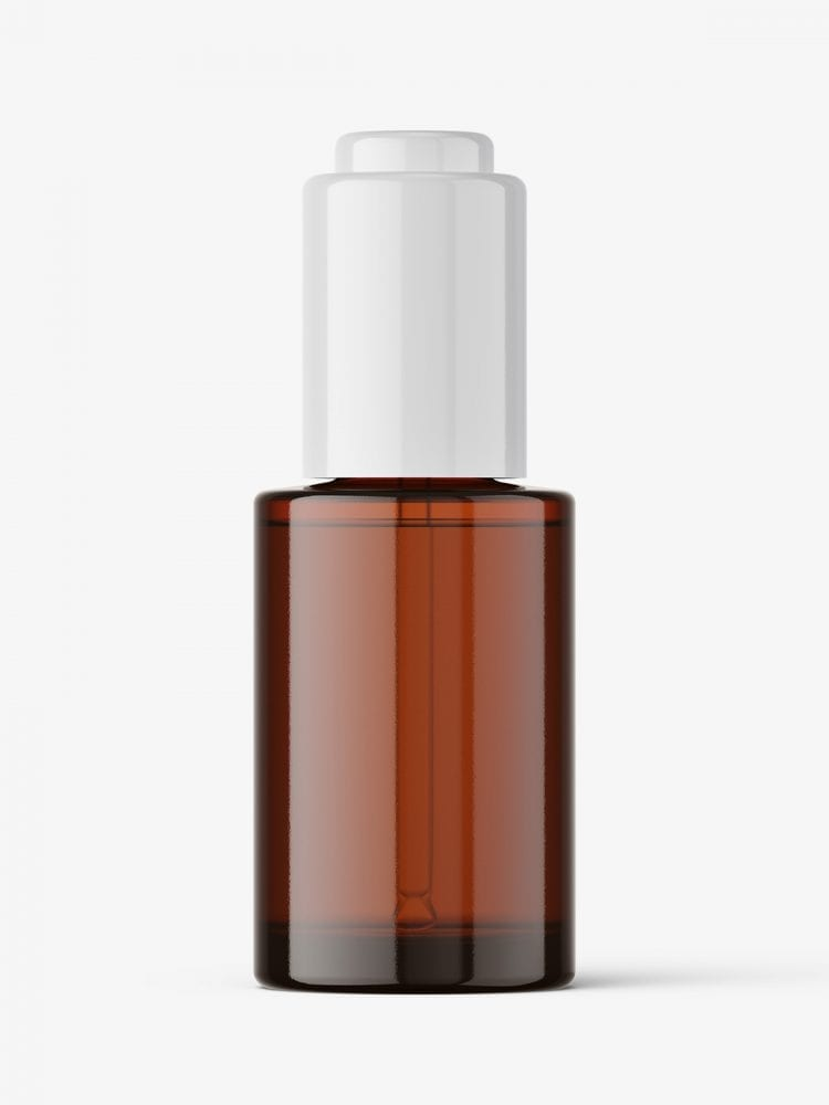 Auto loading dropper bottle mockup / amber