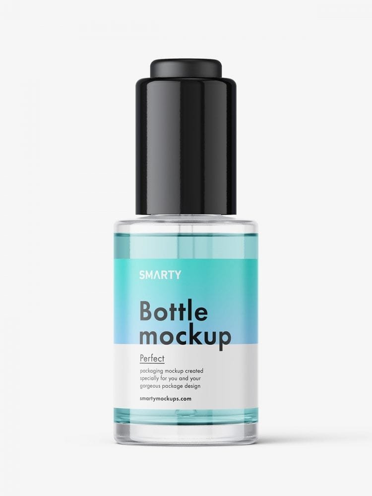 Auto loading dropper bottle mockup / clear