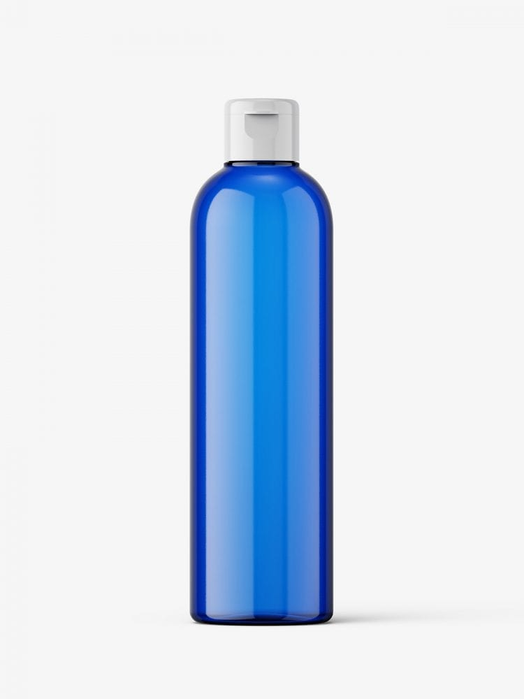 Cosmetic bottle with flip top / blue