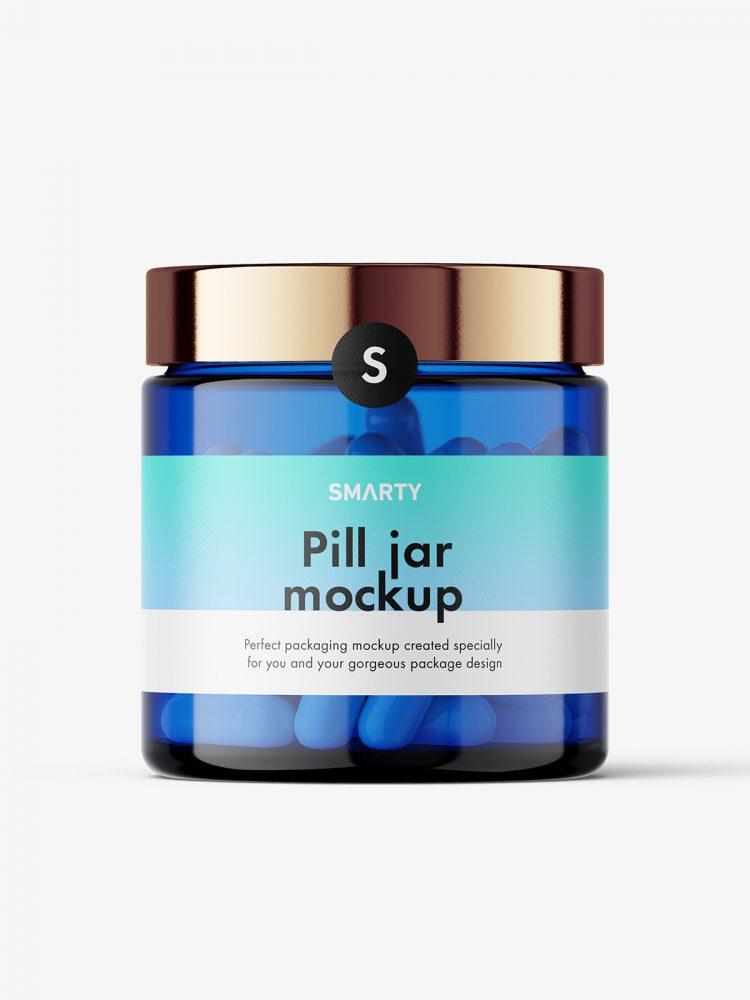 Capsules blue jar mockup