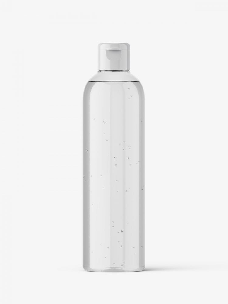 Cosmetic bottle with flip top / clear