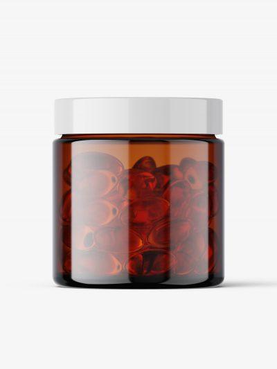 Fish oil capsules amber jar mockup