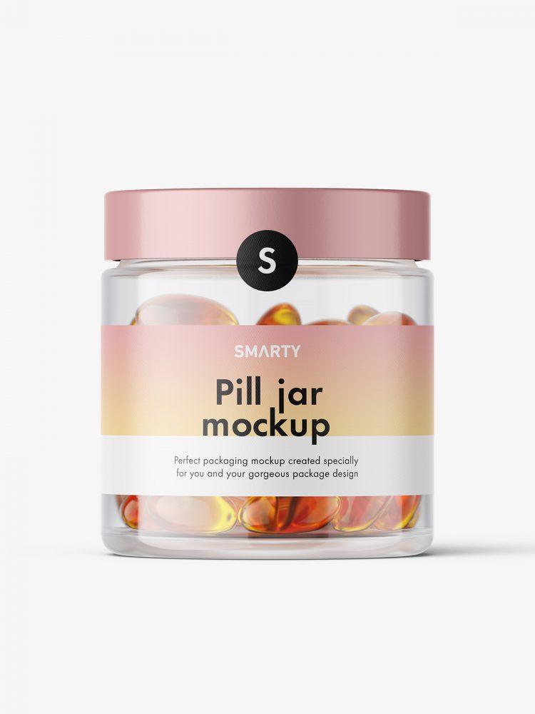 Fish oil capsules jar mockup