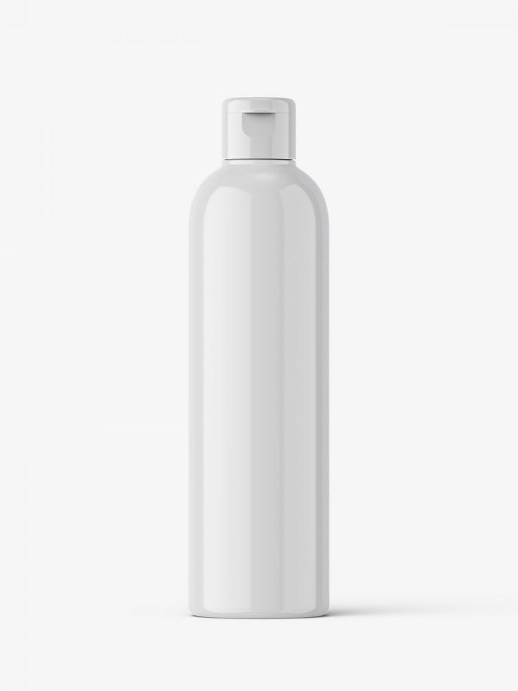 Cosmetic bottle with flip top / glossy
