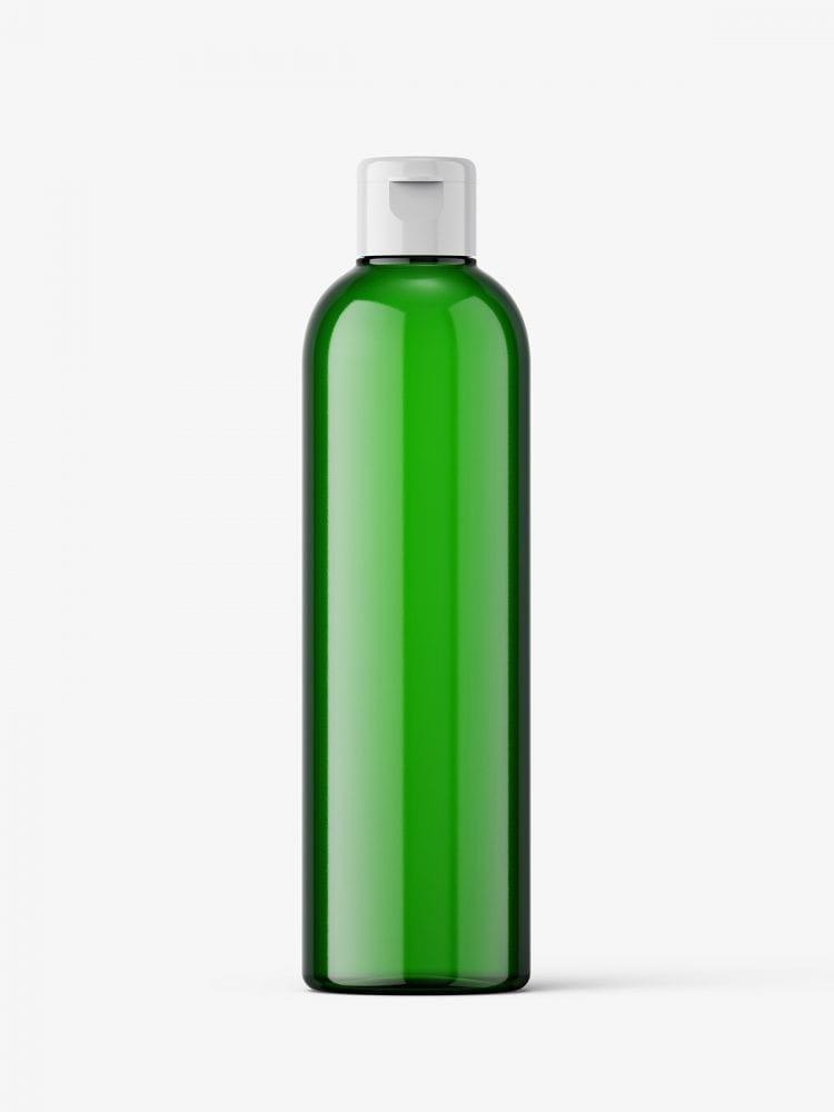 Cosmetic bottle with flip top / green