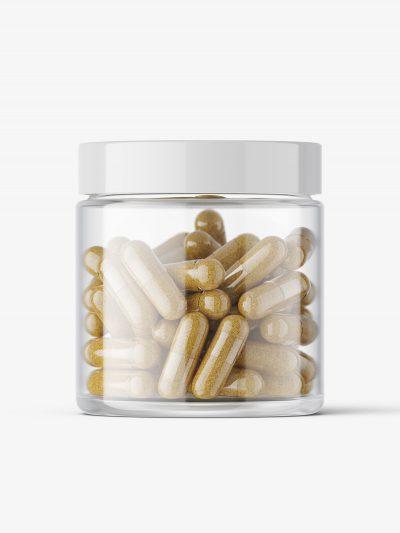 Herbal capsules jar mockup