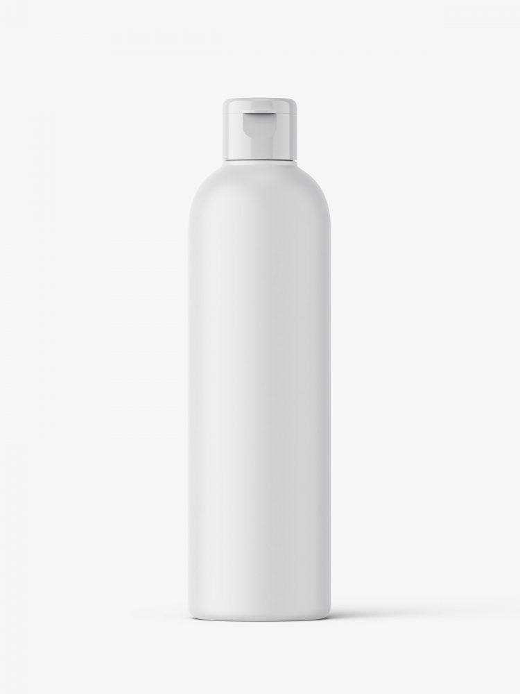 Cosmetic bottle with flip top / matt