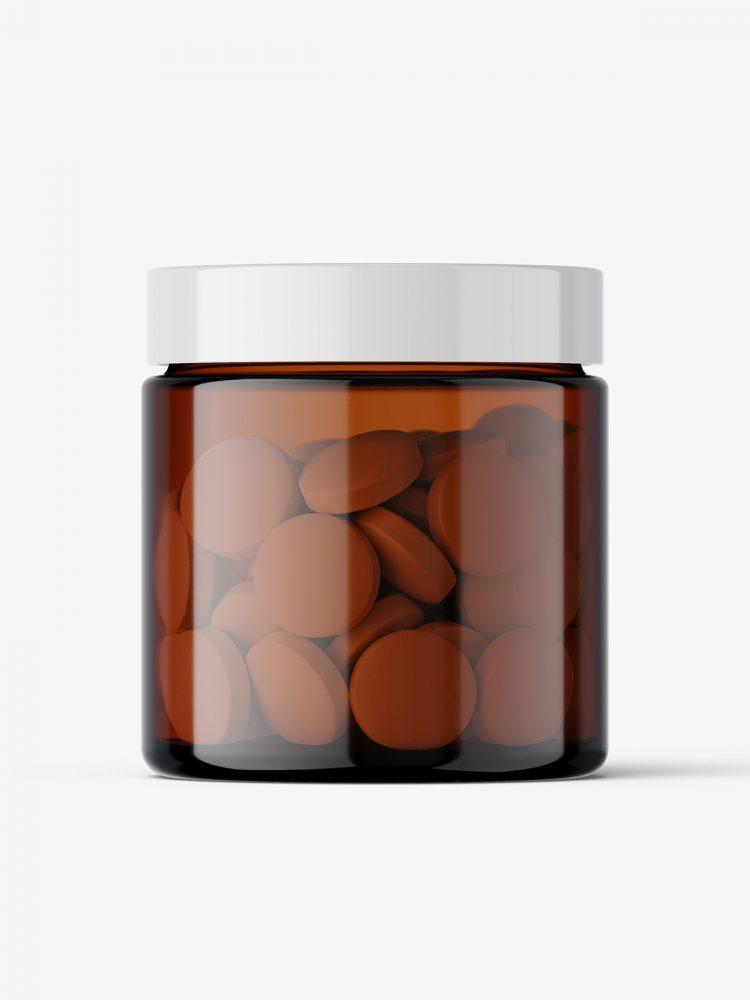 Round tablets amber jar mockup