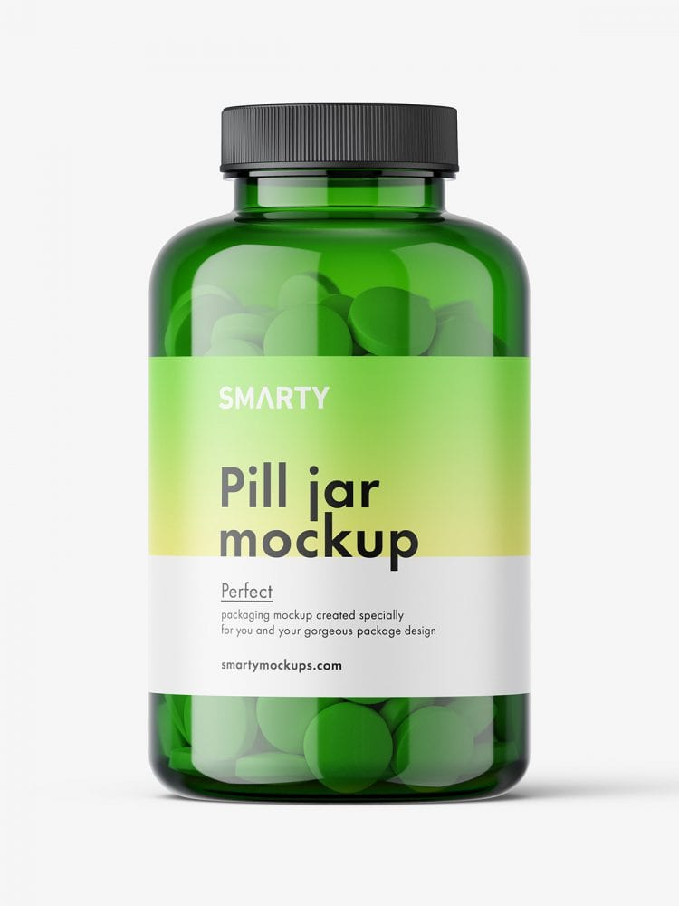 Round tablets green jar mockup