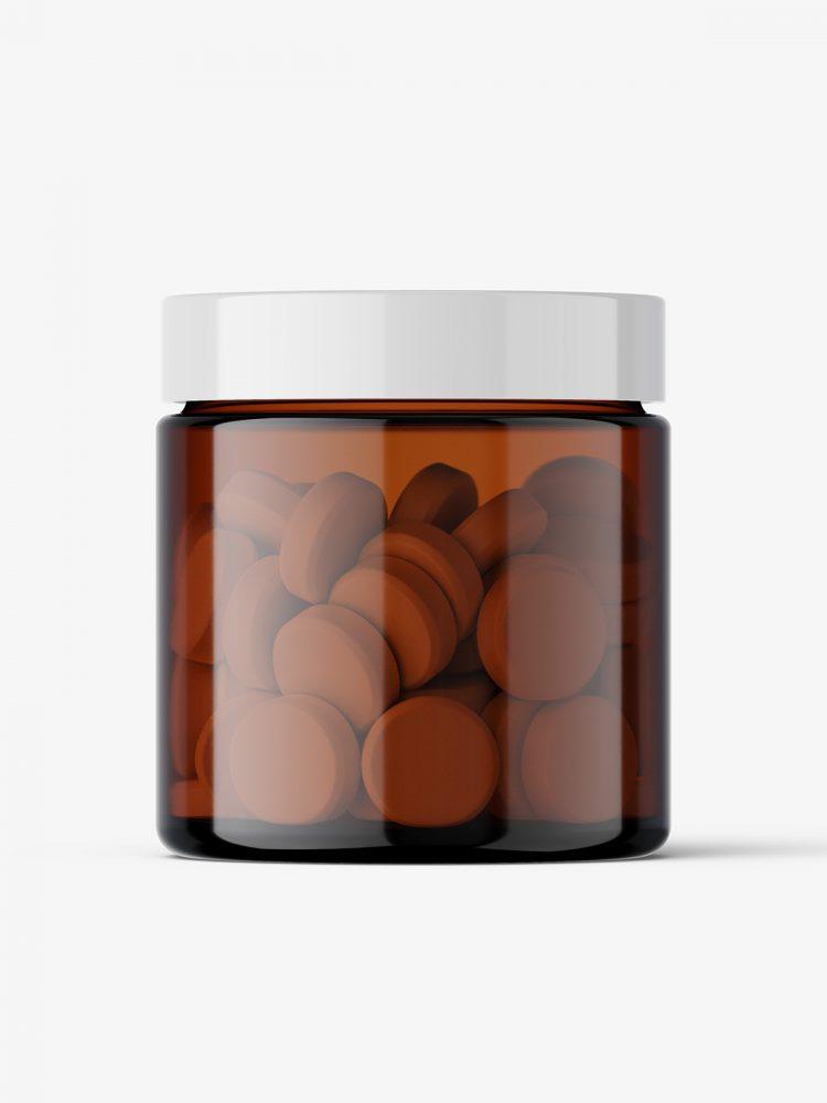 Tablets amber jar mockup