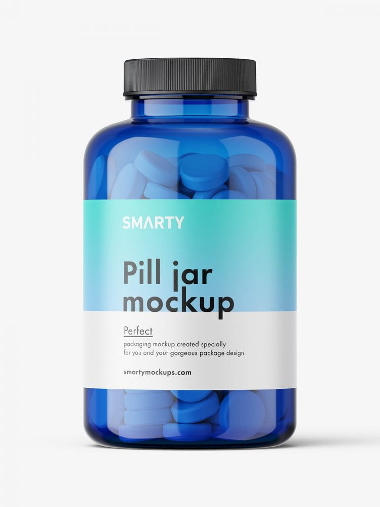 Tablets blue jar mockup