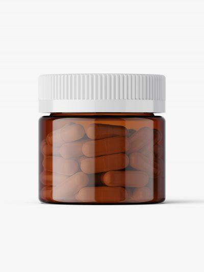 Capsules amber jar mockup