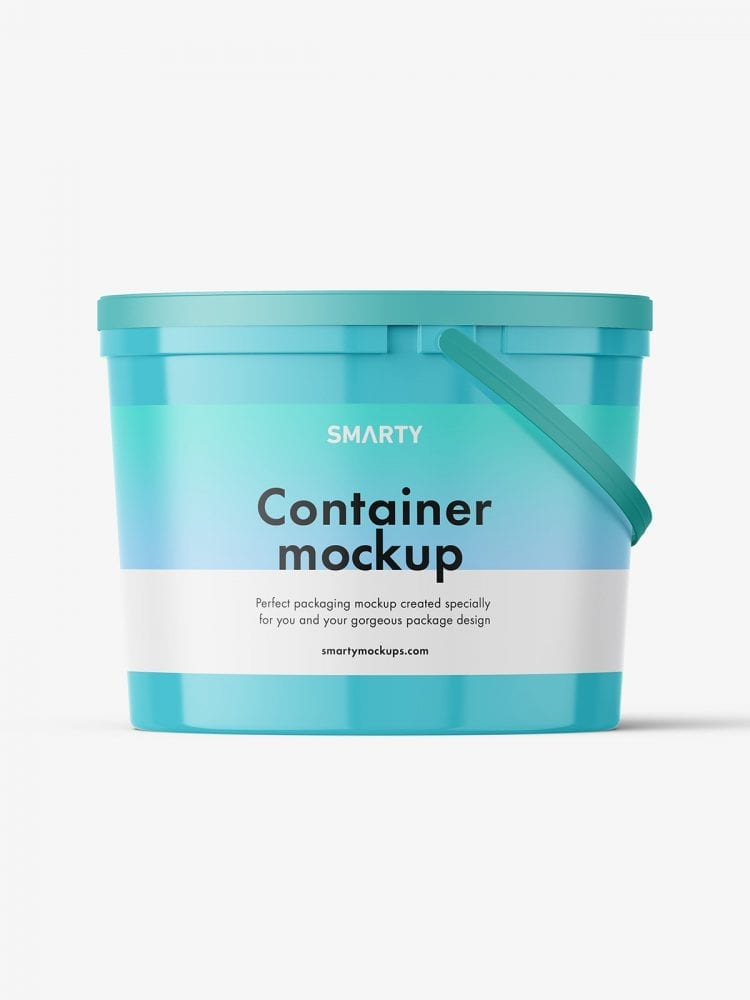Food snap-lock container mockup / glossy