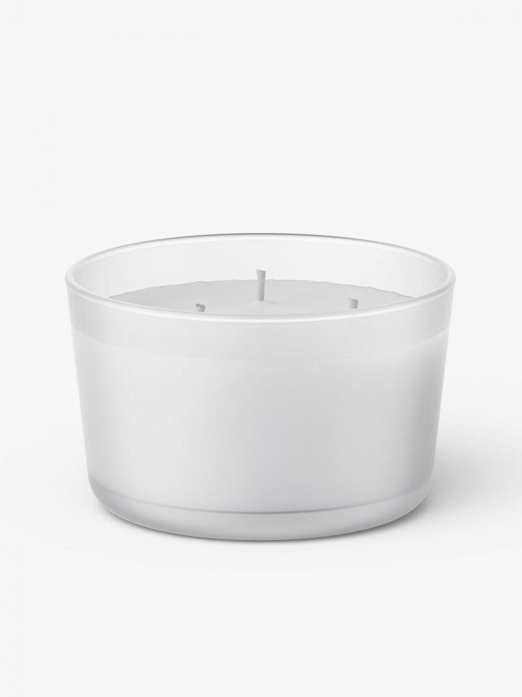 Glass candle mockup / frosted
