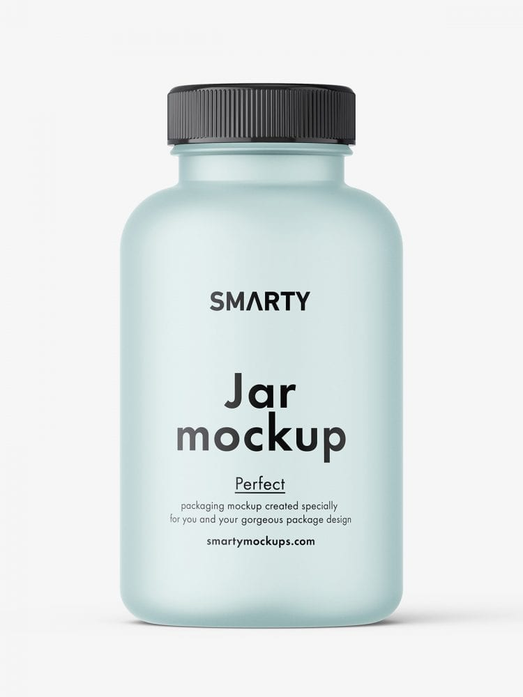 Empty frosted jar mockup