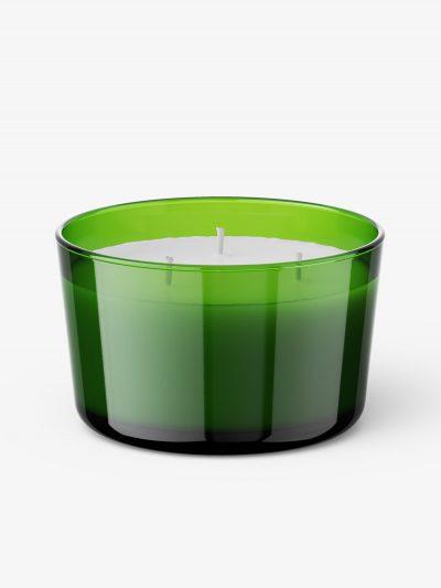Glass candle mockup / green