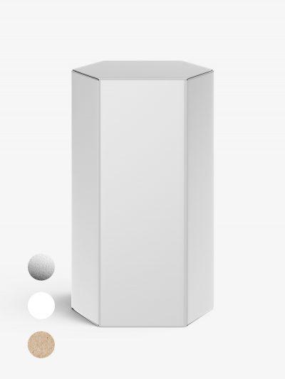 Hexagonal box mockup / white - metallic - kraft