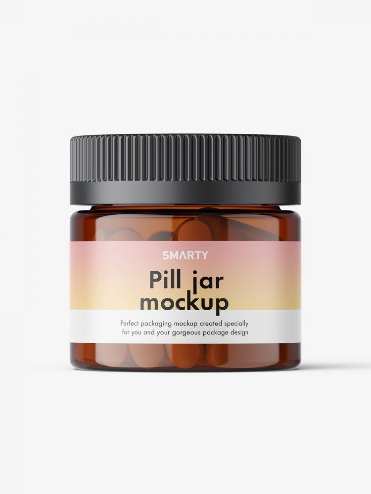 Pills amber jar mockup