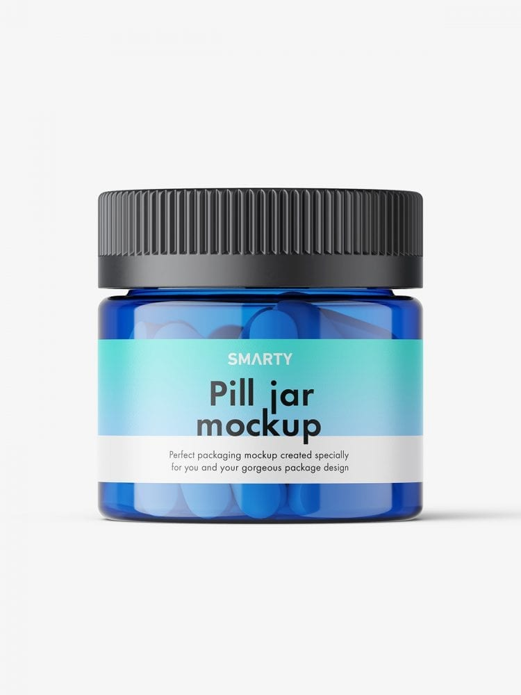 Pills blue jar mockup