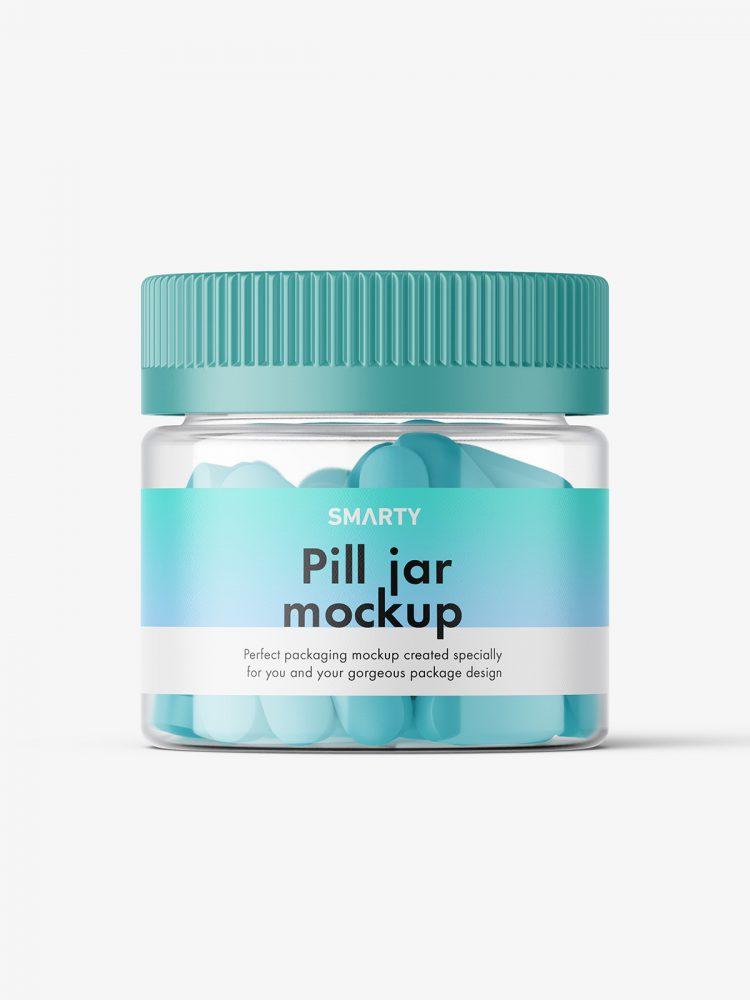 Pills clear jar mockup