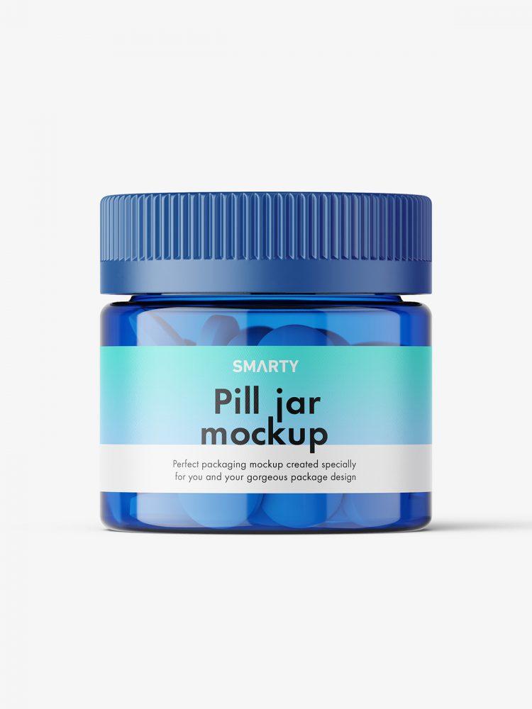 Round tablets blue jar mockup