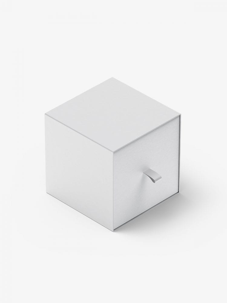 Box with puller mockup / 100x100x100 mm