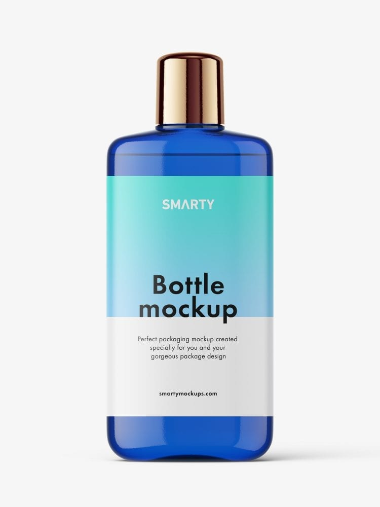 Blue bottle with rounded screwcap mockup