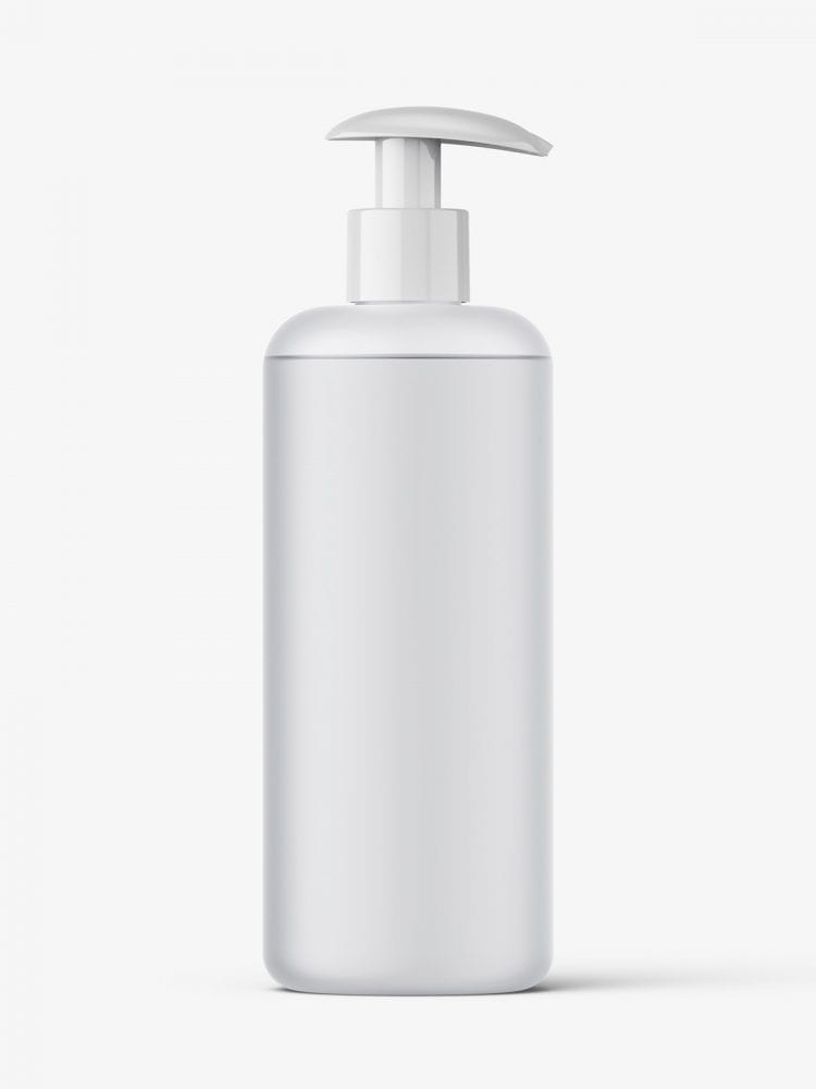 Frosted bottle with pump mockup