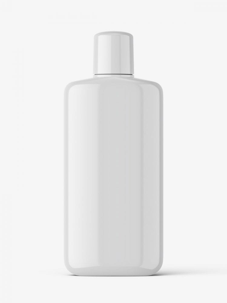 Glossy bottle with rounded screwcap mockup