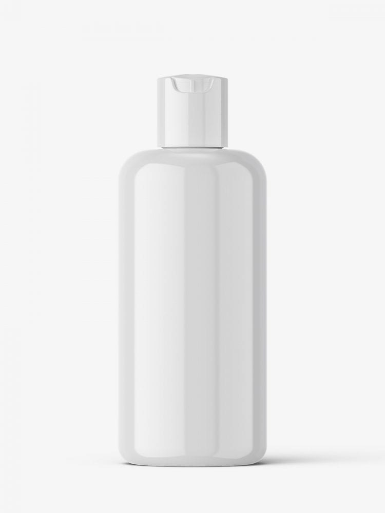 Glossy bottle with disctop mockup
