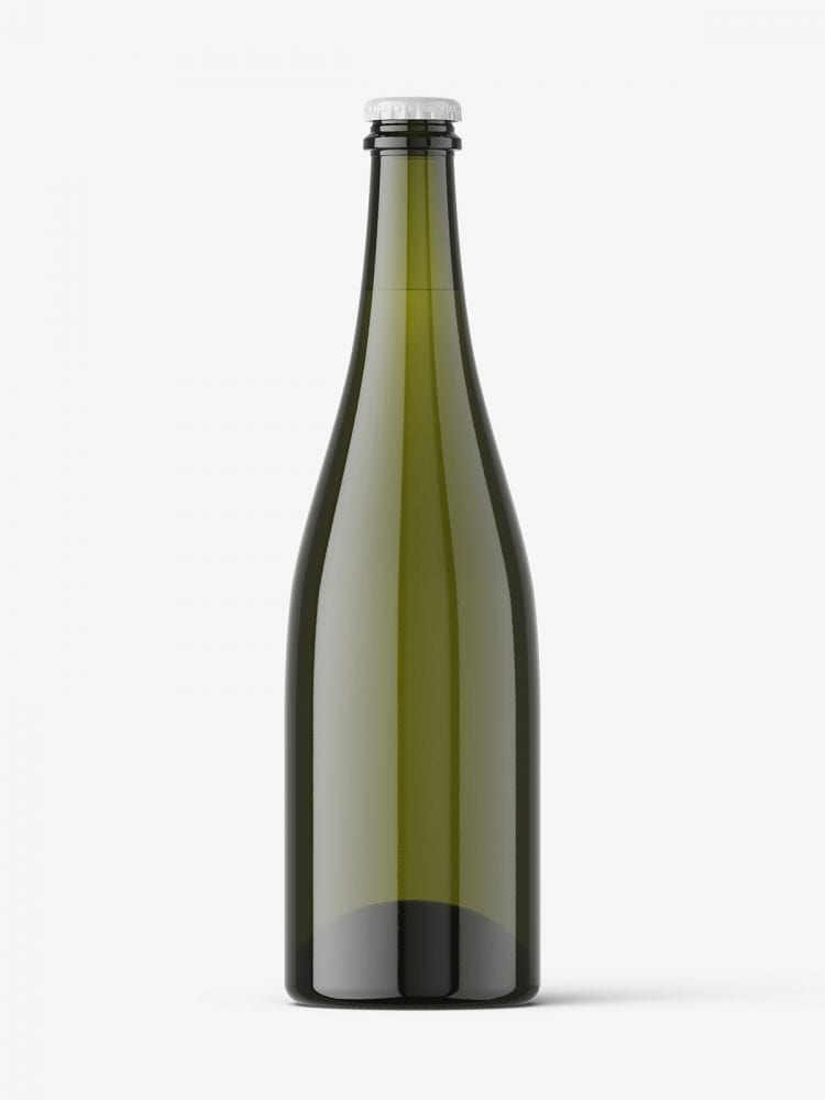 Wine bottle with crown cap mockup
