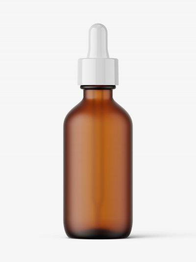 Amber frosted dropper bottle mockup