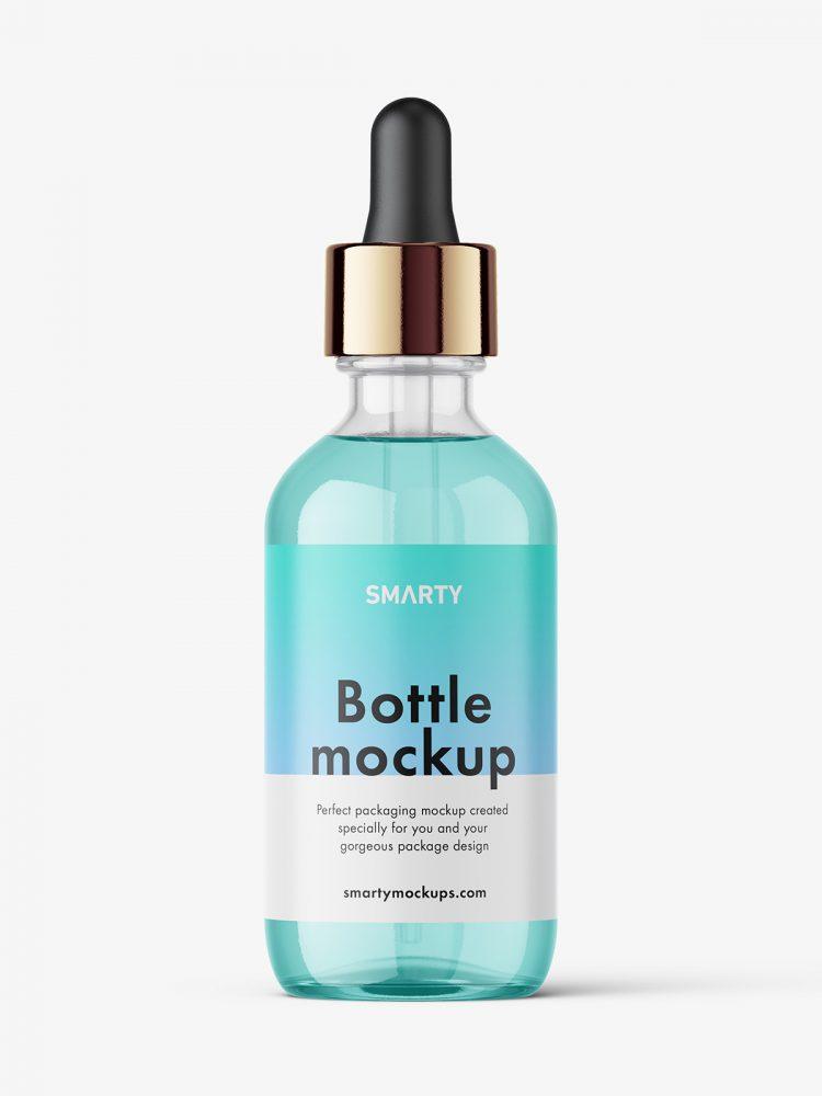 Clear dropper bottle mockup