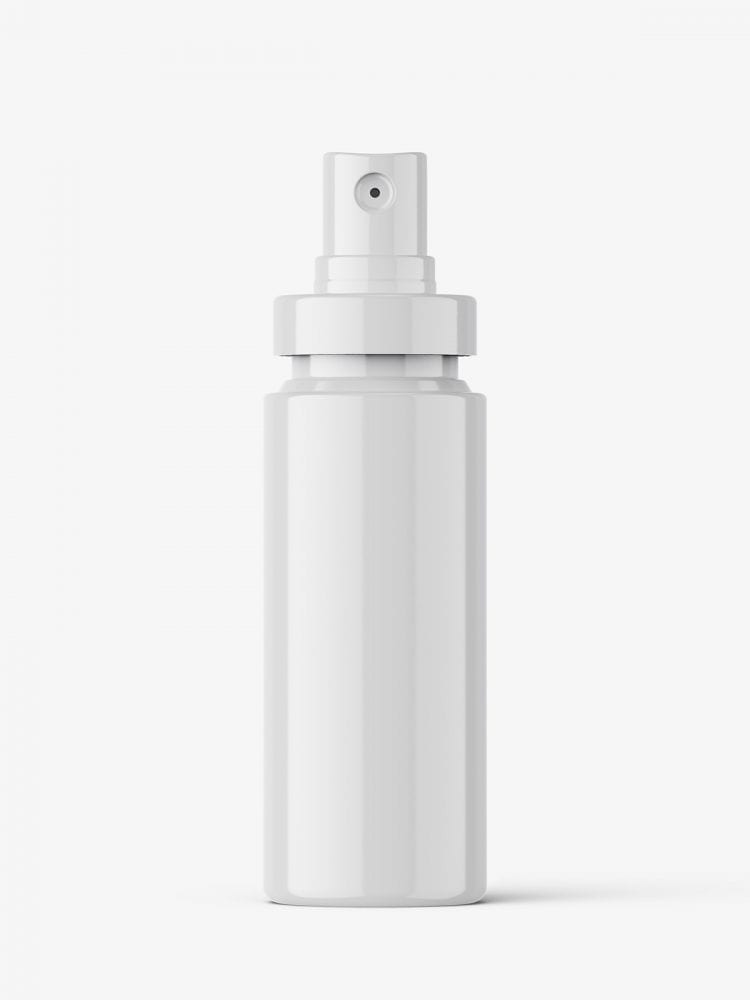 Glossy mist spray bottle mockup