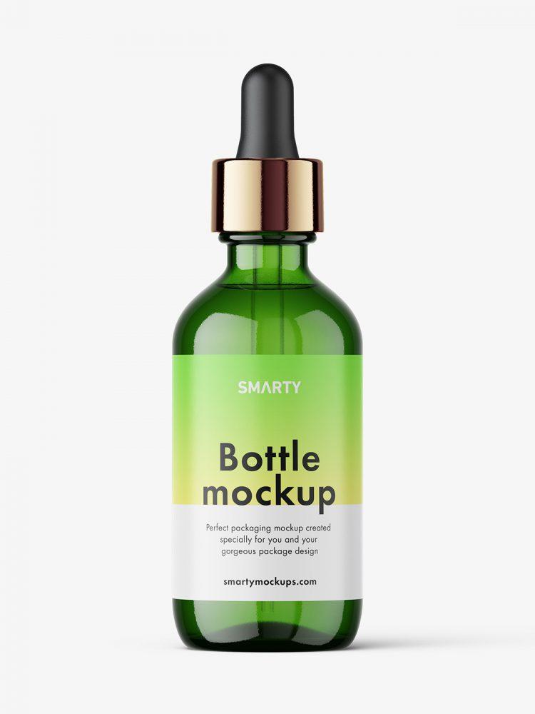 Green dropper bottle mockup